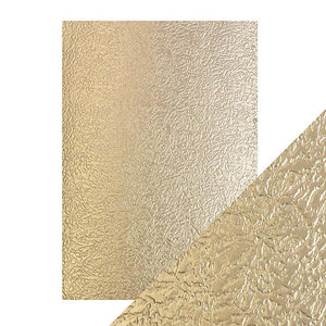 Craft Perfect Luxury Embossed A4 Cardstock - Golden Satin
