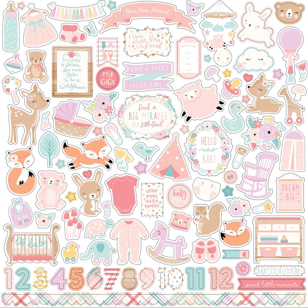 Hello Baby Girl Cardstock Stickers 12