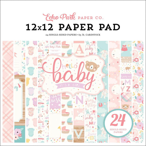 Echo Park: Hello Baby Girl Double-Sided Paper Pad 12x12 24/Pkg