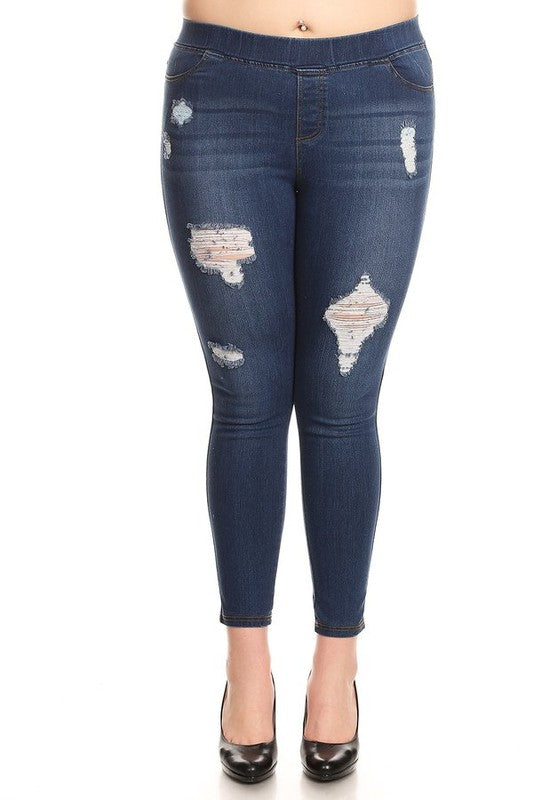 Curvy High Rise Dark Distressed Skinny Fit Jeggings