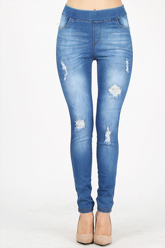 Distressed Light Wash Denim Jeggings