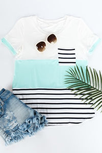 Colorblock Short Sleeve Top Mint
