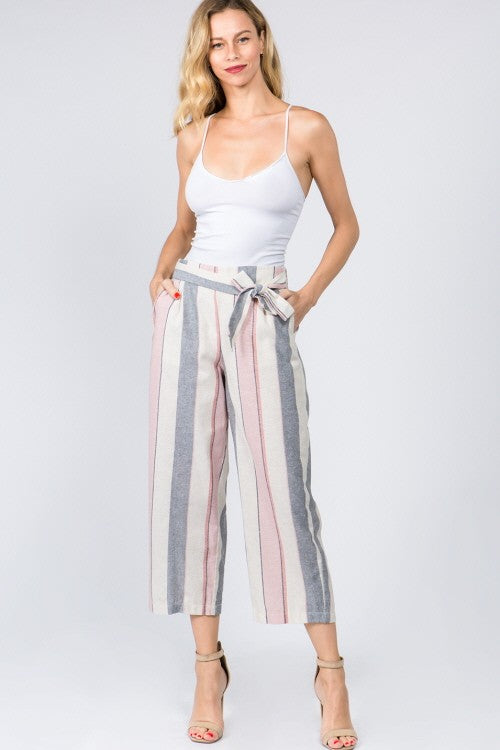 Linen Stripe Ribbon Tie Pants Pink