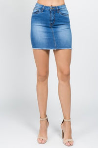 High Rise Super Stretch Medium Wash Denim Skirt