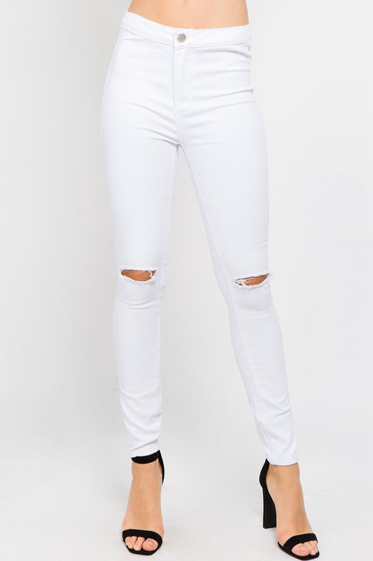 High Rise Perfectly Distressed White Skinny Pants