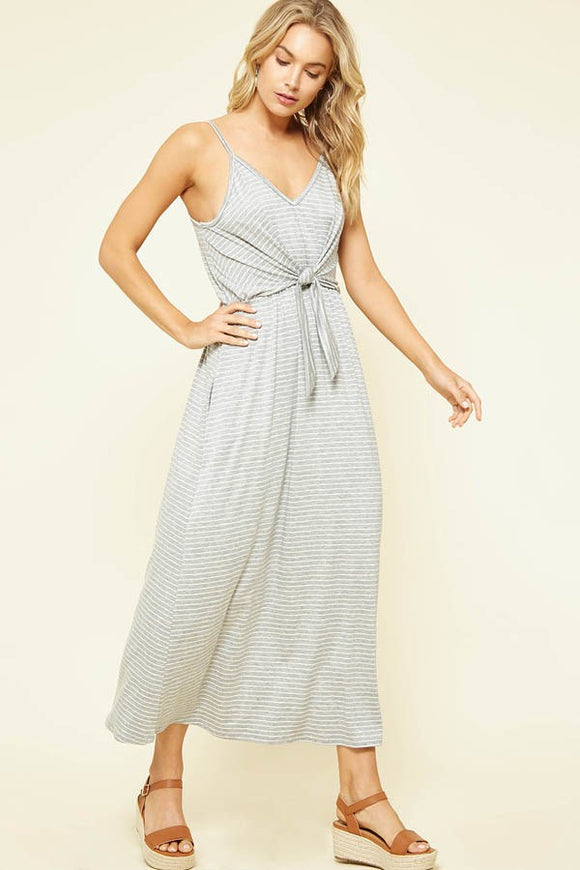 Sleeveless Striped Front Tie Maxi Dress Heather Grey