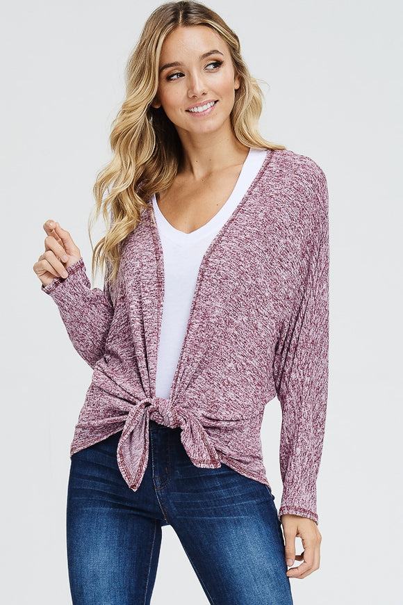 Long Sleeve Cropped Cardigan With Front Tie Wine