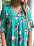 Paradise Is Calling Shift Dress In Emerald Green