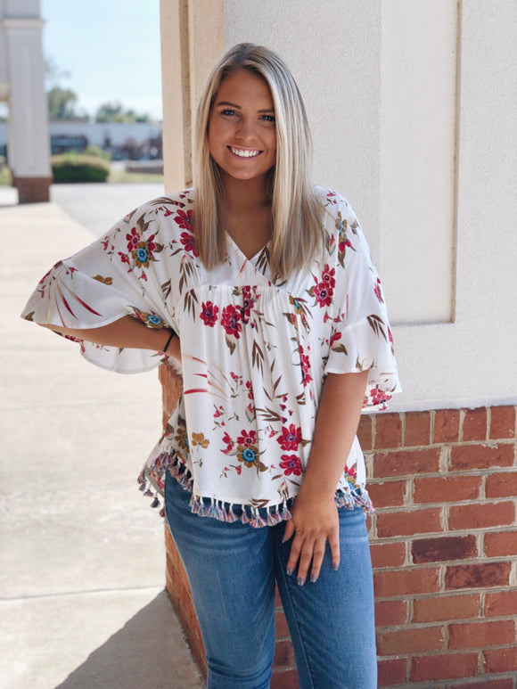 Love You More Floral Tassel Top Ivory
