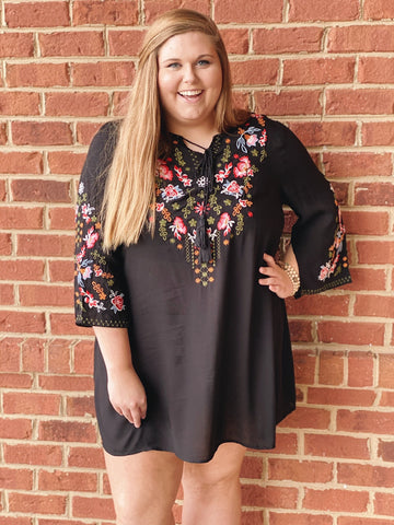 The Gwendolyn Floral Dress in Black