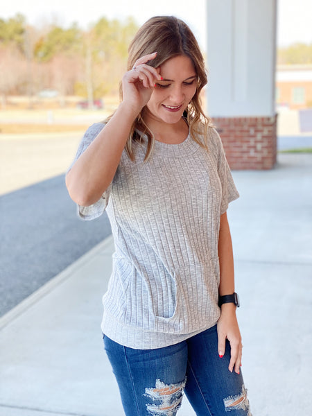 The Willow Knit Top in Heather Grey