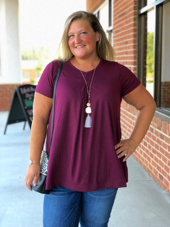 Welcome To The Fun Deep Plum Tunic