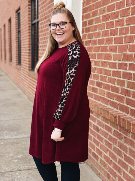 Seriously in Love Knit Dress in Burgundy/Leopard