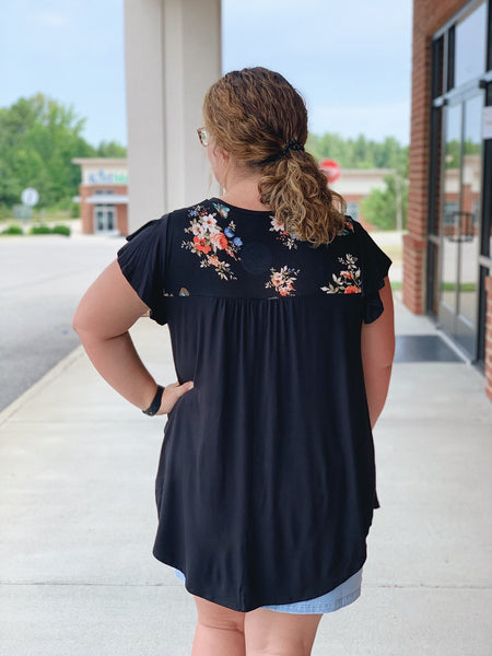The Erika Floral Top in Black