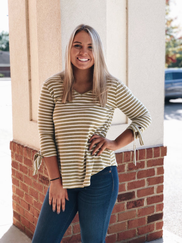 Steady As She Goes Striped Top in Olive