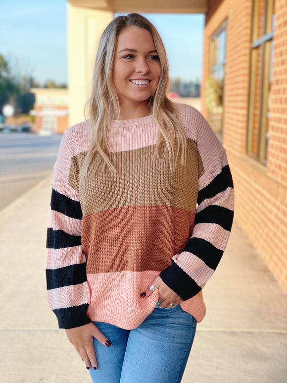 The Cora Striped Sweater in Camel/Blush