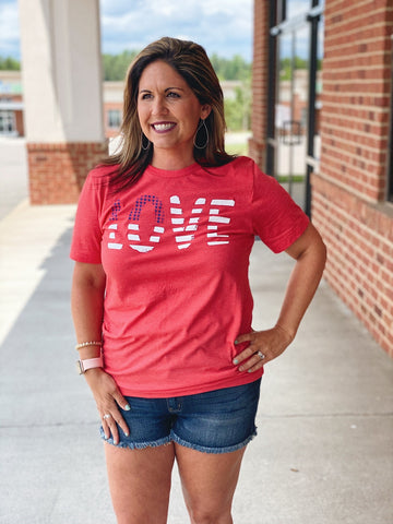 Stars and Stripes LOVE Graphic Tee in Heather Red