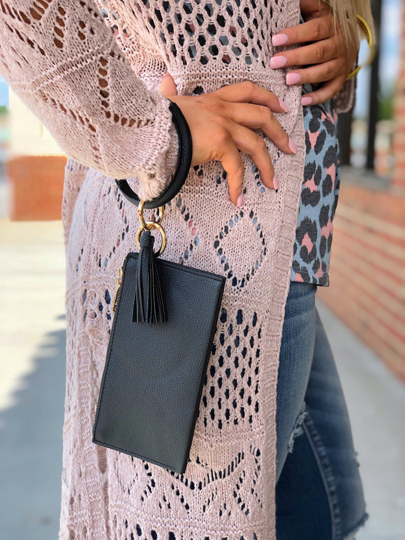 Dance All Night Bracelet Clutch Black With Tassel