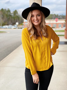 The Jessie Blouse Top in Mustard