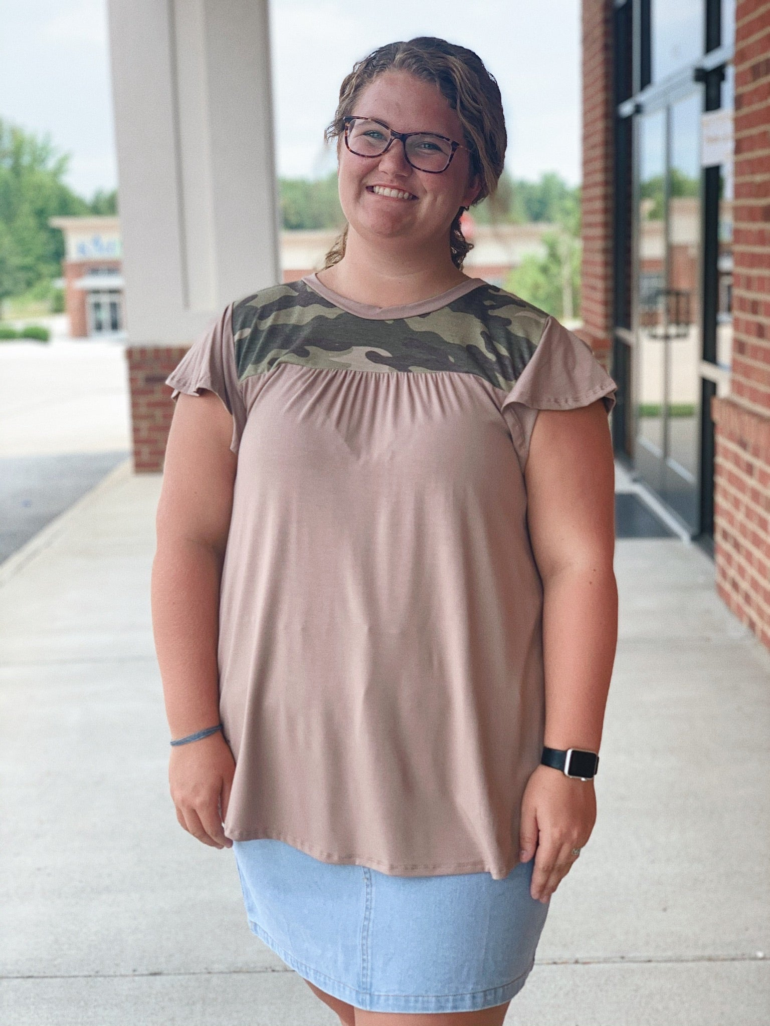 The Emily Top in Camo/Brown