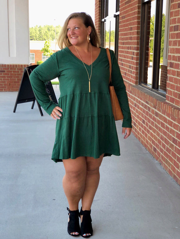 Perfect Fit Dress In Hunter Green