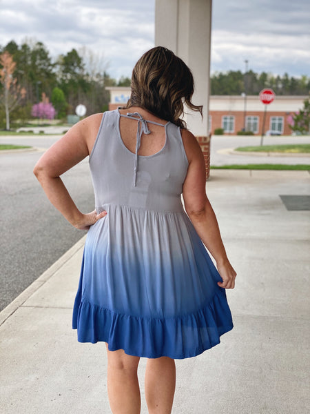 The Gretchen Ombre' Dress in Blue