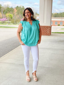 The Glo Ruffle Top in Ceramic Green