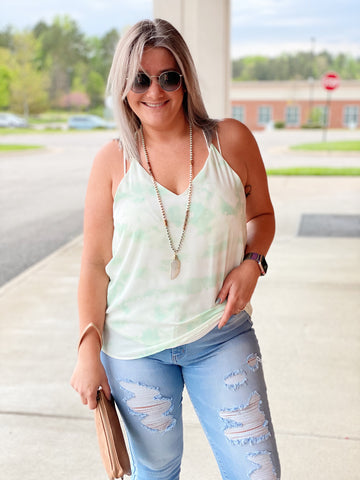 The Zora Tank in Mint/Tie Dye