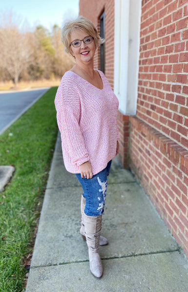 The Haley Sweater in Pink/Multi