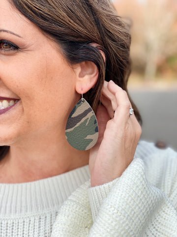 Teardrop Leather Earrings in Camo