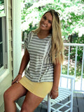 Vintage Wash Stretch Mini Skirt Yellow
