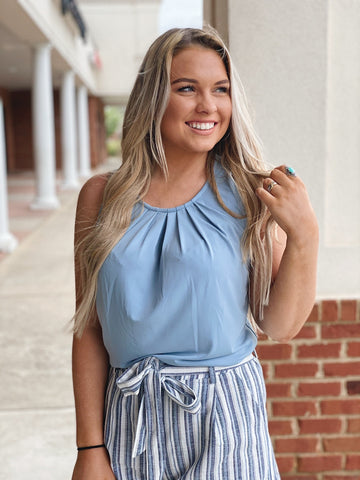 The Megan Pleated Tank in Ash Blue