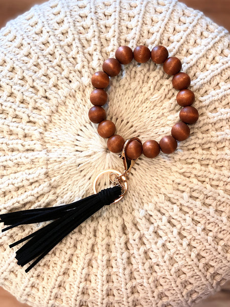 Wood Beaded Keyring Bracelet in Black