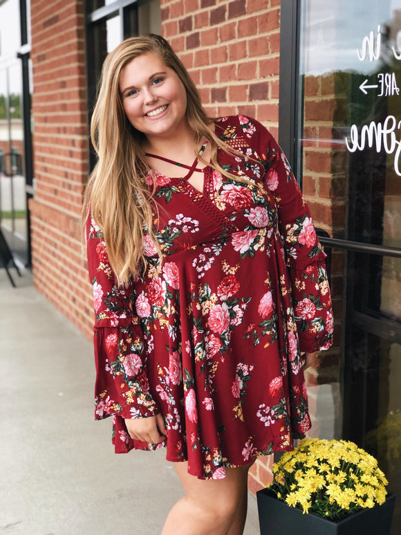 Falling For Floral Dress in Wine/Floral