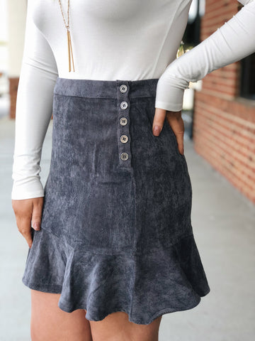 Not Over You Corduroy Skirt in Grey