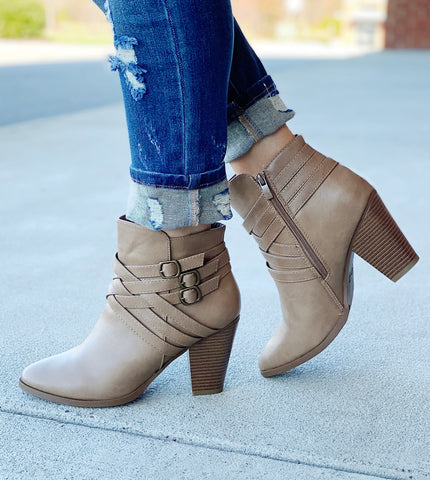 The Camila Bootie in Taupe