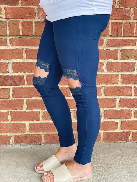 Love in Lace Leggings in Navy