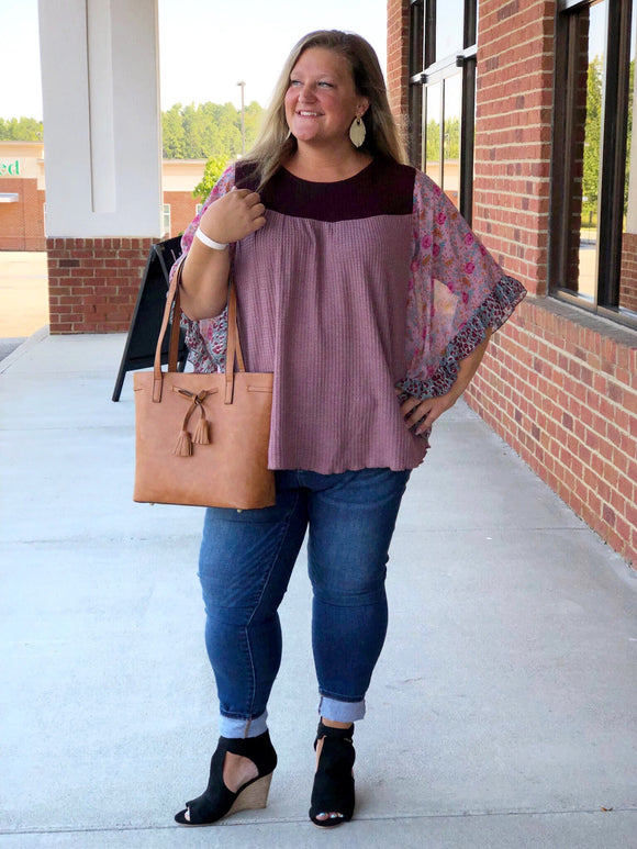 Feeling Fall Floral Sleeve Top In Berry