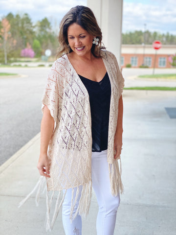 The Ginny Fringe Cardigan in Natural