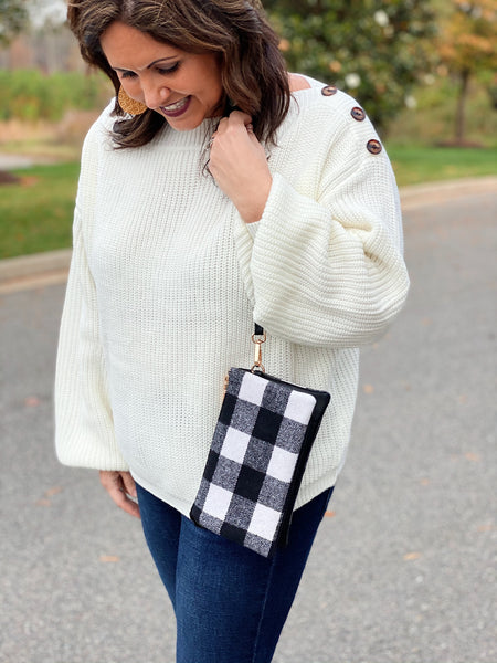 The Riley Crossbody/Wristlet in Black/White Plaid
