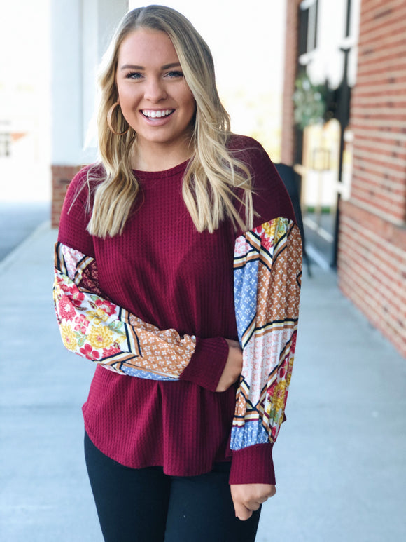 Always in Charge Floral Sleeve Top in Burgundy