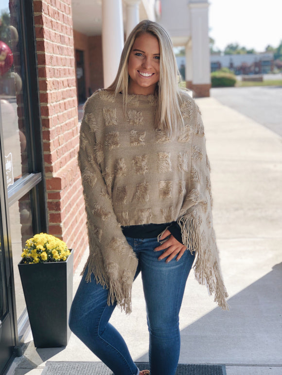 Bundled By The Fire Poncho in Khaki