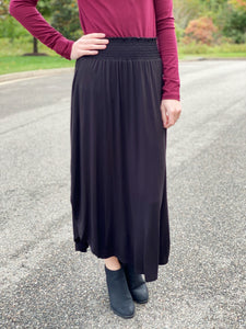 The Caitlin Smocked Skirt in Black