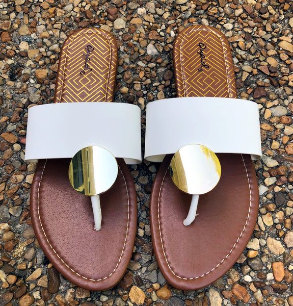 Medallion Sandals White