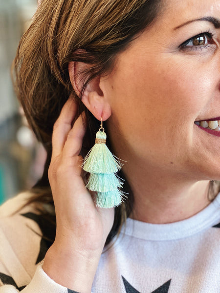 The Princess Tassel Earrings in Mint
