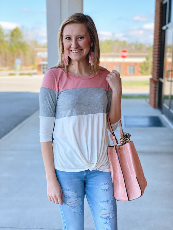 The Taylar Colorblock Top in Pink/Multi
