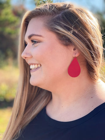 Teardrop Leather Earrings in Red