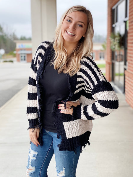 The Gina Distressed Cardigan in Black/Oatmeal
