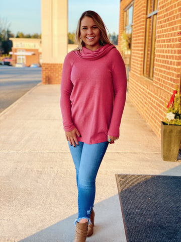 The Dorothy Cowl Neck Top in Mauve