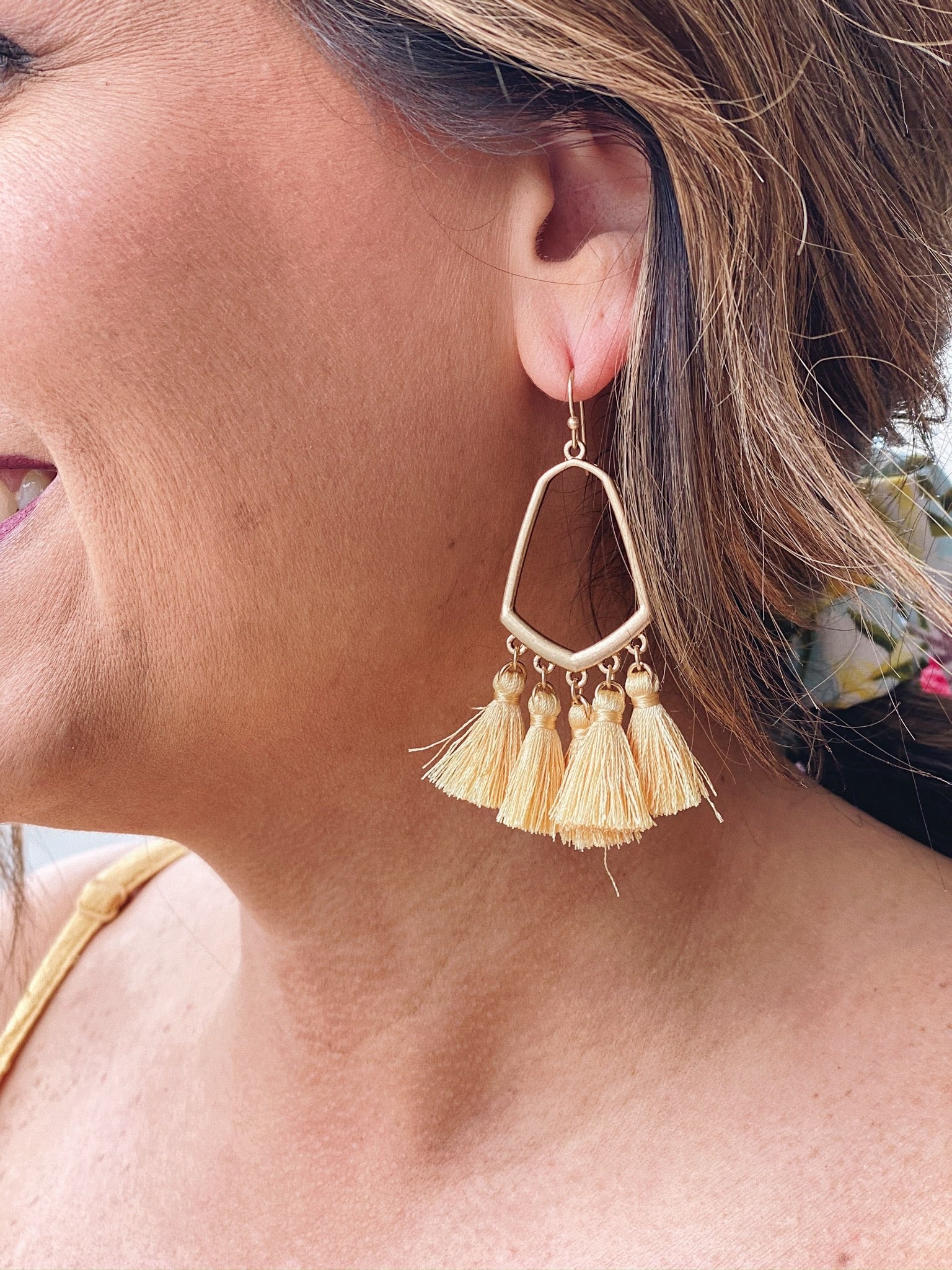 The Charlotte Tassel Earrings in Yellow